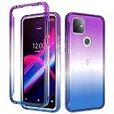 BAISRKE T-Mobile Revvl 4 Plus Case,Hybrid Heavy Duty Shockproof Protection 2 in 1 Bumper Back Clear TPU Cover Phone Cases for T-Mobile Revvl 4 Plus/TCL Revvl 4+ [Blue Purple Gradient]