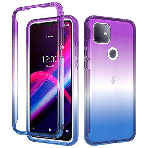 BAISRKE T-Mobile Revvl 4 Plus Case,Hybrid Heavy Duty Shockproof Protection 2 in 1 Bumper Back Clear TPU Cover Phone Cases for T-Mobile Revvl 4 Plus TCL Revvl 4+ [Blue Purple Gradient]