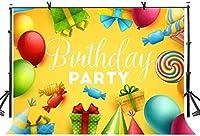 NEWキッズカラフルな風船キャンディーズギフト写真Backgdrops誕生日パーティーバナーケーキ表の装飾のスタジオの小道具のための7x5ftハッピーバースデーの背景292