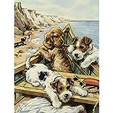 Pintura Por Numeros Diy Dog Set Painting Animal Wall Painting Home Decor A1(40X50Cm Sin Marco)