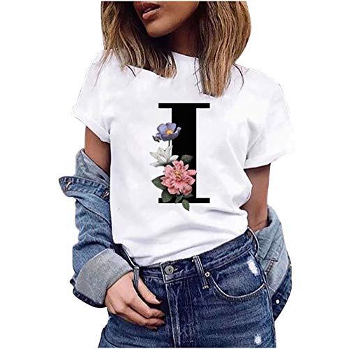 VEMOW Camiseta de Mujer Manga Corta Suelta con Cuello Redondo Talla Grande, Moda Impresión de 26 Letras Inglesas Basica Suelto Verano Camisa Tops Casual Fiesta T-Shirt para el Mejor Amigo(I,M)