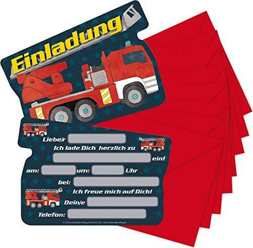 16-teiliges Einladungs-Set: * Feuerwehr * für Kindergeburtstag | mit 8 Einladungskarten mit 8 Umschläge | Feuerwehrauto Kinder Geburtstag Einladung Einladungskarten
