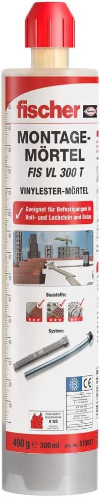 fischer Montagemörtel FIS VL 300 T – Für Standardanwendungen in Voll-/Lochsteinmauerwerk und gerissenem Beton – 1 x Kartusche 300 ml, 2 x…
