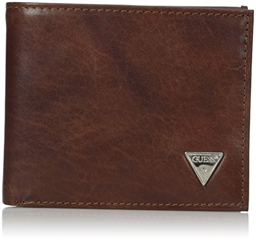 Guess Men's Leather Passcase Wallet, Brown Plaque, One Size