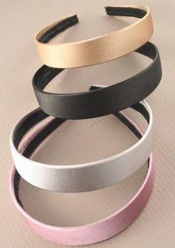 Aliceband - Plain wide (2.5cm) satin fabric aliceband[Silver] by Mias Accessories