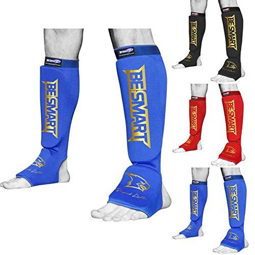 Protège-tibias Be Smart pour MMA, boxe, Muay Thai, kick boxing - Protection du tibia et du cou-de-pied - Noir, Homme, Blue/ Gold, grand