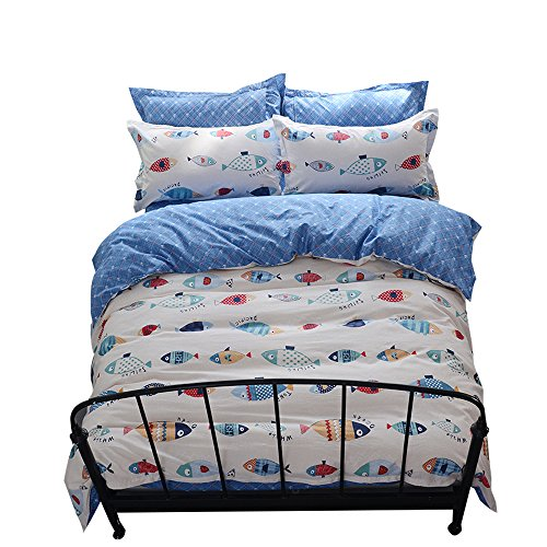 Reversible 100% Cotton Twin Boys Bedding Sets, Fish Pattern Girls Duvet Cover Sets, White Blue Home Textile Cartoon Sealife Teen Bedding Gifts Duvet Cover Set for Kids Adults Children Bed Sets, Twin