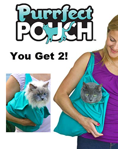 PurrFect Pouch The Original AS SEEN ON TV. The Comfy Cat Carrier & Grooming Sack in One (Set of 2 - Teal)