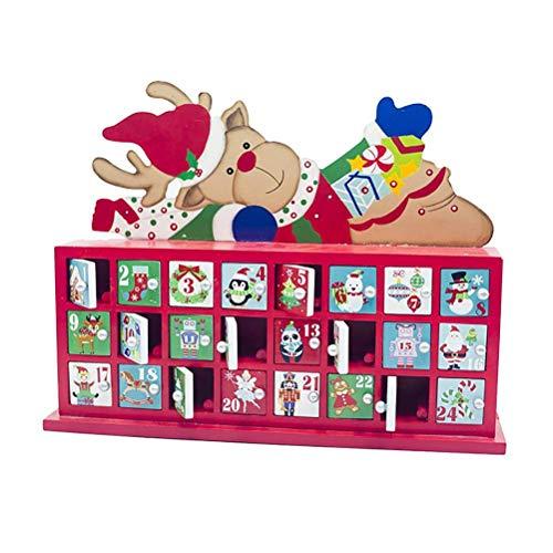 Phayee Kerstmis Countdown kalender opbergdoos, kerstmis hout adventskalender, 24 dagen hangdoek kerstversiering gekleurde kerstboom cadeau