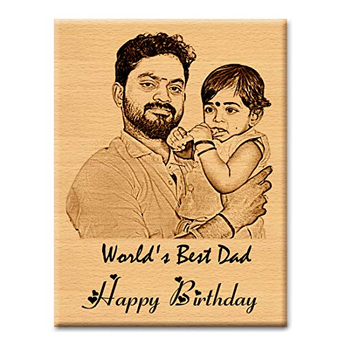 GFTBX Personalized Birthday Gift for Father - Customized Engraved Wooden Photo Frame Plaque with Text Engraving Happy Birthday Dad | Gift for Dad | Mens Birthday Present Ideas (15x10cm, Wood)