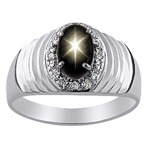 Anello in argento Sterling o oro giallo 14 K con zaffiro stella nera e diamante