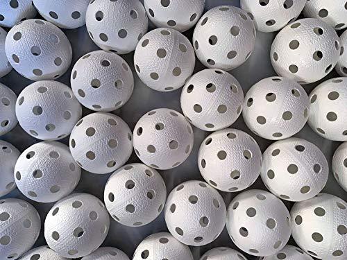 Realstick Floorball Unihockey Ball 24er Team Set Weiss | Wettkampfball Trainingsball mit IFF Zertifikat für geprüfte Qualität