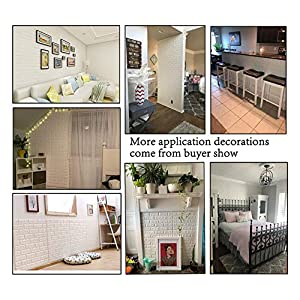 Arthome White Brick 3D Wall Panels Peel and Stick Wallpaper for Living Room Bedroom Background Wall Decoration (5 Pack, White 28 sq feet)