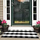 USTIDE Buffalo Plaid Outdoor Rug Black and White Porch Rugs 100% Cotton Hand-Woven Checked Doormat Retro Washable Farmhouse Rug 24''x51''