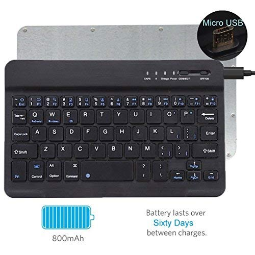 Tempo QWERTY Italiano Layout Tastiera Wireless Bluetooth Keyboard 7' Compatibile Qualsiasi Android/Windows/IOS-Smartphone Tablet,Samsung Galaxy Tab,Google Nexus,Amazon Fire-nero