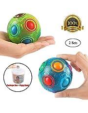 PROACC 2PCS Regenbogen Ball Magic Ball Spielzeug Puzzle Magic Rainbow Ball für Kinder Pädagogisches Spielzeug Jugendliche Erwachsene Stress Reliever Malloom Pop Luminous Stressabbau Blau und Grün
