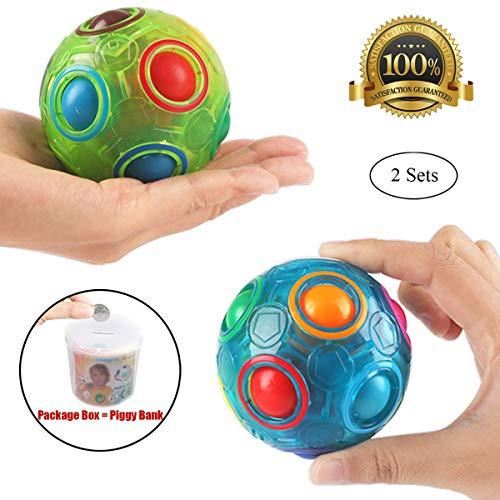PROACC 2pcs Bola del Arco Iris Magic Ball Toy Puzzle Magic Rainbow Ball para Juguetes educativos para niños Adolescentes Adultos Stress Reliever Malloom Pop Luminous Stress Reliever Azul y Blanco
