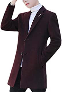 Macondoo Men's Overcoat Woolen Lapel Two Button Winter Long Jacket Coat