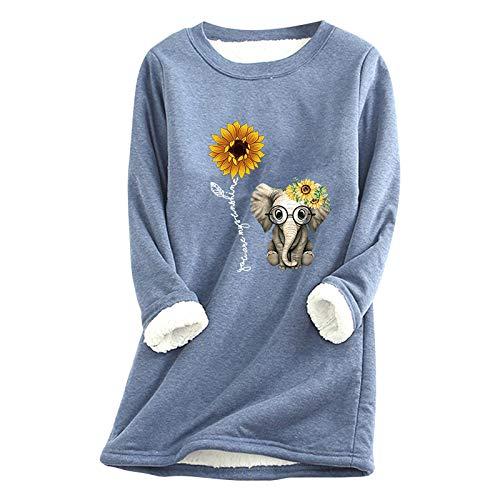 Lazzboy Store Sweatshirt Frauen Elefant Sonnenblume Dickes Fleece Printing Streetwear...