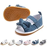 Morbido Infant Baby Girl Sandal Premium Soft Rubber Sole Anti-Slip Summer Bow Shoe Toddler Flats First Walkers Crib Shoe (1a blue, 12_months)