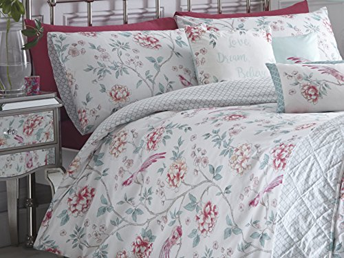 Dreams & Drapes - Jade - Oriental Floral Trail with Bird and Trellis Reverse Duvet Cover Set - Double, Pink