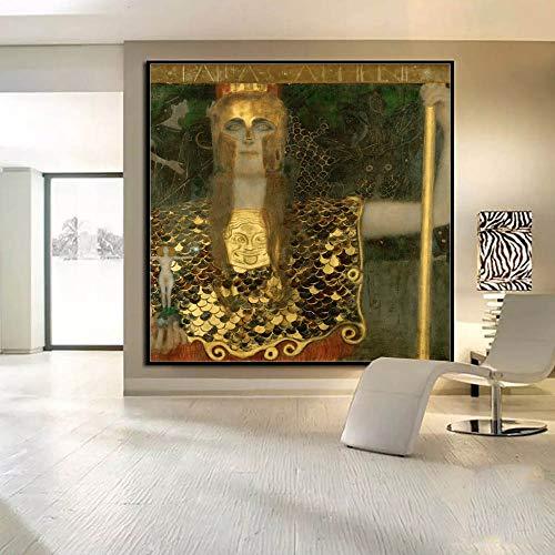 PSpXU Austria Gustav Klimt Beso Arte Abstracto Pintura al óleo sobre Lienzo Decoración del hogar Arte de la Pared Cuadros para Sala de Estar Dormitorio-Sin marco-50X50cm