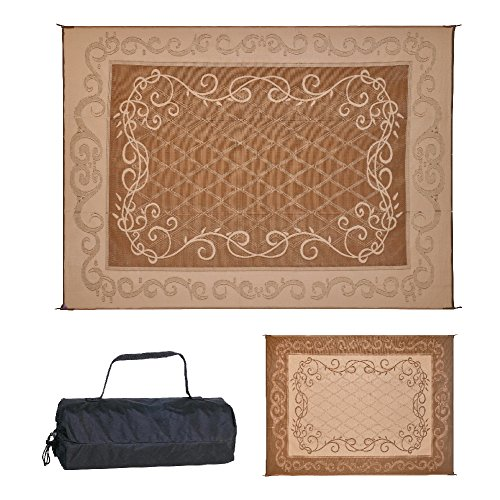 REVERSIBLE MATS 9-Feet x 12-Feet Outdoor Patio Mat for Garden, Backyard, Pool, Deck, RVs, Camping with Carry Bag, Brown/Beige (199127)