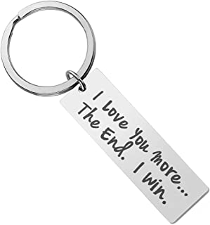 YiyiLai Couples Valentine's Day Stainless Steel I Love You Most Keychain Key Rings for Husband Wife