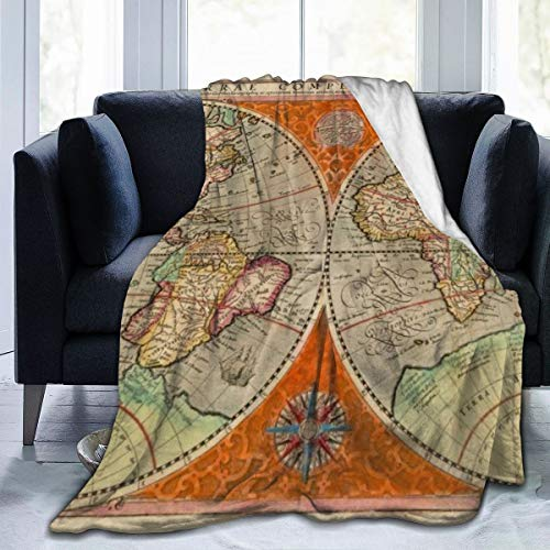 Qing_II Manta de forro polar, una descripción de cómo el mundo de la tierra de los grandes Readiest a el mapamundi universal, manta de franela de invierno, suave y cálida, 50 x 65 pulgadas para cama, sillón, oficina