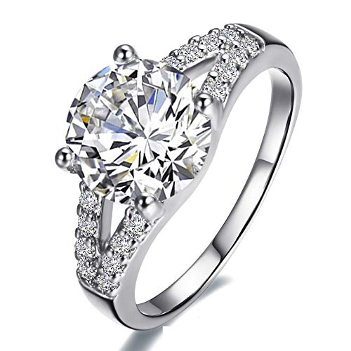 KUYIUIF Cushion 3ct CZ Engagement Rings Double Band Cubic Zirconia Promise Halo Engagement Ring 925 Sterling Silver Solitaire Engagement Ring for Women (10)