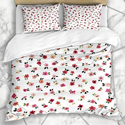 Jojun Duvet Cover Sets Naive Pink Floral Shabby Chic Daisy Vintage Flowers Watercolor Ditsy Red Small Rose Blossom Tiny Microfiber Bedding with 2 Pillow Shams Easy Care Anti-Allergic Soft Sm