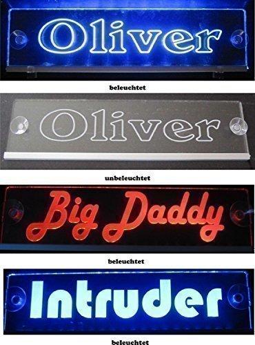 Schmalz Werbeservice Trucker LKW Namensschild Größe 30x10 cm - LED Acryl Leuchtschild 12V 24V mit Edler Lasergravur