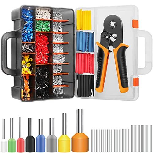 SOMELINE Crimpzange Aderendhülsen Werkzeugsatz Aderendhülsen Crimpzange mit 2360 Stück Kabelschuh Set 0,08-10mm² für isolierte und nicht isolierte Stahlseil Ratschenkabelschuhe