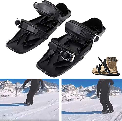 SOAR Raquetas Nieve Mini Patines de esquí, Zapatos de Patines portátiles para Nieve The Short Skiboard Snowblades Ski de esquí Ajustable para Hombres Mujeres Universal Sports Ski Shoes