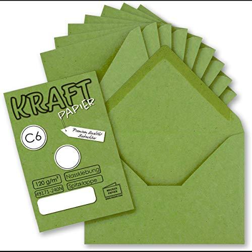 Neuser Paper - Sobres (50 unidades, DIN C6, 11,4 x 16,2 cm, sin ventana), diseño vintage, color verde claro