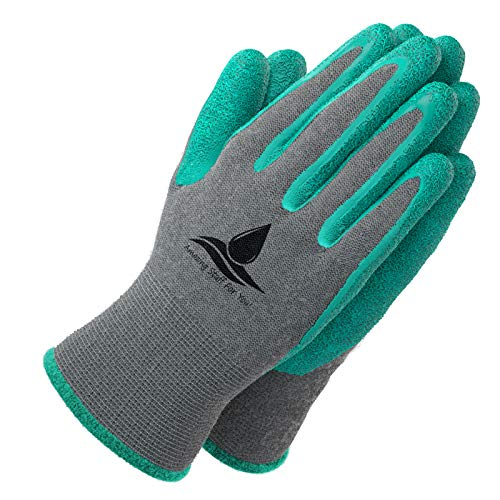 Garden Gloves for Women and Men - (2 pairs per package) - Super Grippy with Special Protective coating against cuts for Gardening - Fishing - Auto and Work activities S,M,L Sizes (Small, Green)