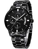 Relojes de Hombre Reloje Grandes de Pulsera Military Negro Cronógrafo Impermeable Acero Inoxidable...