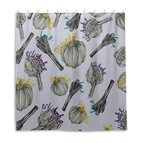 Badezimmer Duschvorhang, Gemüse-Muster Duschvorhänge Stoff Badezimmer Vorhang Langlebig Wasserdicht Badvorhang-Sets mit 12 Haken