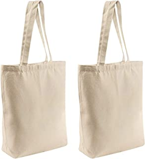 2 Pcs Reusable Large Canvas Tote Bags with Separate Packaging,Multi-purpose Blank Canvas Bags Use for Grocery Bags,Book Bags,Shopping Bags,Craft DIY Drawing,Gift Bags, etc.(15.7''x15.7''x4.7'')