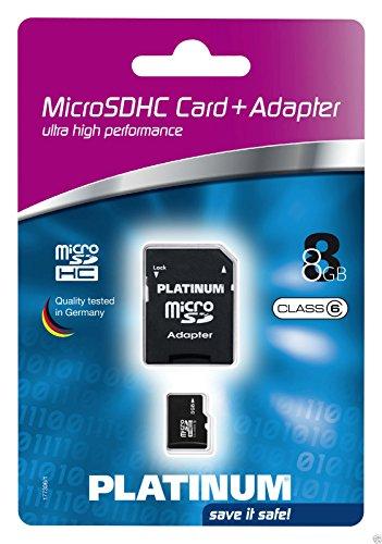 PLATINUM Micro SDHC 8 GB Class 6 Speicherkarte (inkl. SD Adapter) 177306