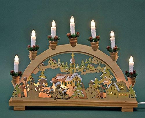 MH Schwibbogen Lichterbogen Kirche und Schneemann 10flammig innenbeleuchtet farbig Weihnachten Advent Geschenk Dekoration (10751)