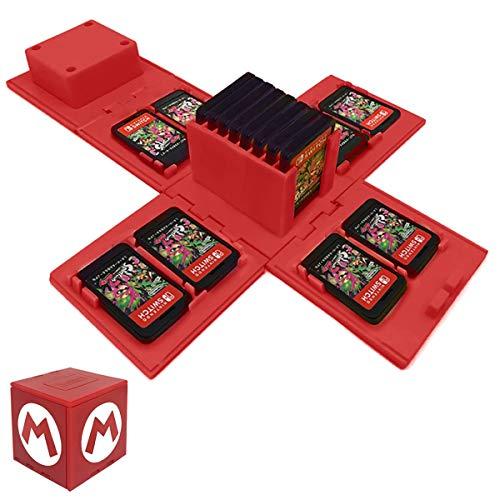 TUSNAKE Porta Carte da Gioco per Nintendo Switch, Contiene Fino a 16 Giochi Sistema di Conservazione Protettivo Organizzatore Card Giochi Involucro Rigido (Mario/Red)