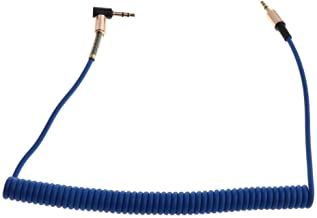 FITYLE Spring Elbow 3.5mm Auxiliary Audio Male to Male Cable 90 Degree Right Angle - Blue