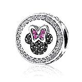 NINGAN Disney Mickey & Minnie Mouse Funkelnde Symbole Charms für Damen 925 Sterling Silber zum Geburtstag Anhänger mit Armbänder & Halsketten