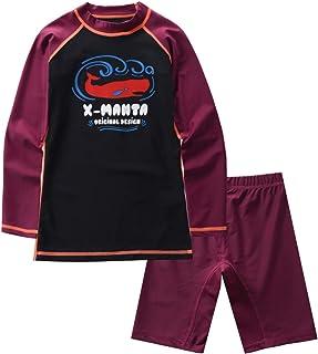 M2C X-Manta Boys Girls Rash Guard Swimwear Sun Protective Two Pieces Bathing Suits Crimson 4T