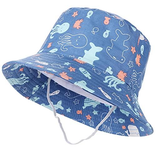 Tacobear Sombrero de Sol Bebé Verano Sombreros Pescador ala Ancha Algodón Gorra con Protección Solar Anti-UV Gorro de Playa para Infantiles Niños Niñas 1-5 Años (Azul Cielo-Mundo Submarino)