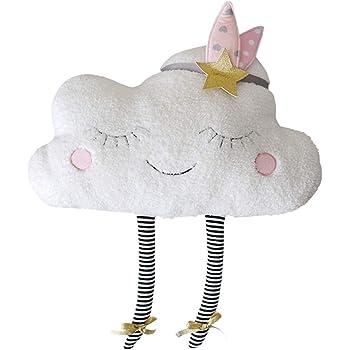 WopenJucy Cojines con forma de nube y con lazo para ni/Ã/±a color blanco de
