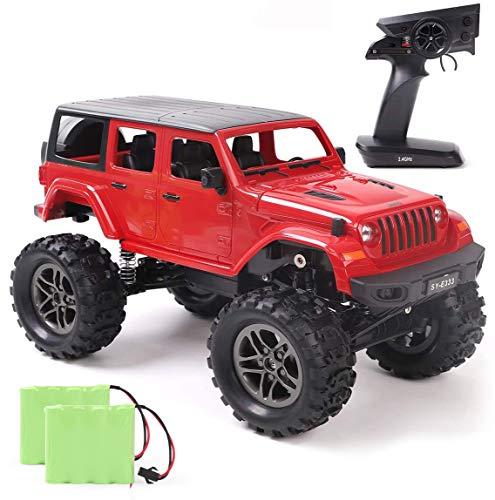 REMOKING Coche teledirigido escala 1:14 Coche teledirigido 4WD 2,4 GHz Vehículo de escalada de cinco puertas RC, todoterreno rojo, regalo para niños, adolescentes y adultos