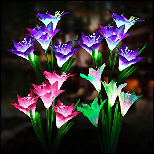Outdoor Solar Lights, KOOPER 4 PackSolar Garden Lightswith 16 Bigger Lily Flowers, Waterproof 7 ColorChanging Outdoor Lights - Bigger Solar Panel for Garden Patio Yard Pathway Decoration