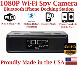 SecureGuard 1080P HD WiFi iPhone iPod Docking Station Bluetooth Clock Radio Security Nanny Cam Spy Camera with Hidden 16GB SD Card (100% Covert)